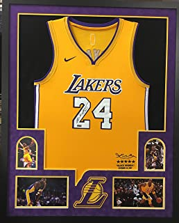 Kobe Bryant Los Angeles Lakers Autograph Signed Custom Framed Jersey Official Swingman Retirement Limited Edition Suede Matted 4 Picture Panini Authentic Certified