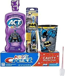 Batman Super Hero 4pc Bright Smile Oral Hygiene Set! Batman SpinToothbrush, Crest Kids Toothpaste, Mouthwash Wash & Rinse Cup! Plus Bonus 'Remember To Brush