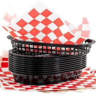 Retro Style Black Fast Food Basket (12Pk) and Red Checkered Deli Liner (120Pk) Combo. Classic 11 In Deli Baskets Are Microwavable and Dishwasher Safe. Disposable Deli Paper Squares for Easy Cleanup