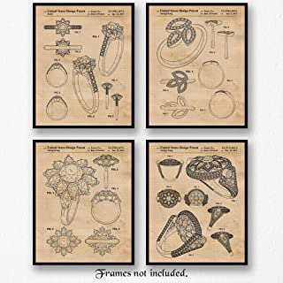 Original Harry Winston Jewelry & Wedding Ring Patent Poster Prints, Set of 4 (8x10) Unframed Photos, Great Wall Art Decor Gifts Under 12 for Home, Office, Student, Teacher, Fashion Designer & Fan