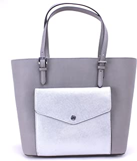 593957b91dec46 Michael Kors Jet Set Large Pocket MF Tote Saffiano Leather (Pearl Grey/ Silver)
