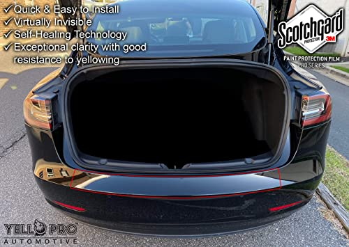 discount YelloPro Auto lowest Tesla Model 3 Custom Fit 2018 2019 2020 2021 3M Scotchgard Pro Trunk Rear Bumper Edge Protector PPF Clear Bra Paint Anti Scratch Guard Self 2021 Healing Decal Sticker Cover Film Kit outlet sale