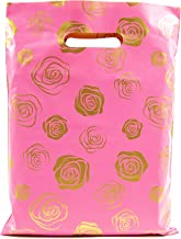 Merchandise Bags 9x12 - Gold Roses Print - 100 Pack - Glossy Retail Bags - Shopping Bags for Boutique - Boutique Bags - Plastic Shopping Bags