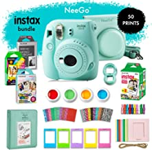 NeeGo Instax Mini 9 Instant Camera Bundle – Deluxe Kit with Camera, Matching Case & 4 Fun Film Packs–Rainbow, Stained Glass, Monochrome & White 50 Exposures for Instant Creative Photos-Ice Blue