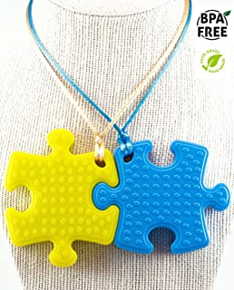 Sensory Chew Necklace Premium Strength (2 Pack) for Boys, Girls, Kids and Adults. Great for Severe Chewers Autism, ADHD, Baby Teething, Silicone Puzzle Autism, Awareness Chewlery Yellow Blue