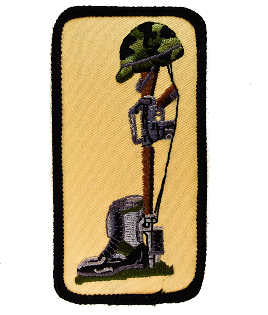 FIELD CROSS Front line burial Military Memoriam Honor Grave 4 inch Embroidered Patch