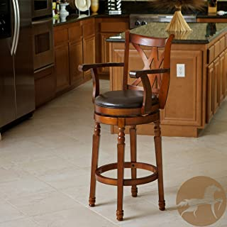 Christopher Knight Home 217132 Eclipse Armed Swivel Barstool, Chocolate Brown