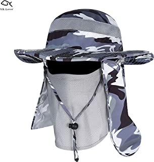 New Fishing Outdoor Sun Hat with Removable Neck Face Flap, Fishing Hat Safari UPF 50+ UV Sun Protection Bucket Cap, Mesh Boonie Hat for Outdoor Sports & Travel