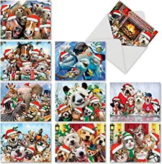 Merry Christmas To Zoo' Christmas Cards, 10 Assorted Festive Animal Holiday Cards 4 x 5.12 inch, Pets and Zoo Creatures Christmas Notes, Farm and Sea Critters Greetings Cards M6652XSG