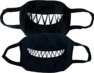 Set of 2 Smiley Mask with Smile Teeth Design Grin Smiling Happy Washable Cotton Black Funny Cover Fun Cool Couples Bandana...