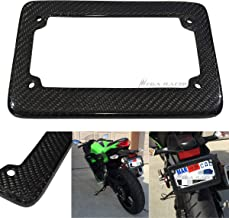 Mega Racer Motorcycle JDM Style 100% Real Carbon Fiber License Plate Frame Holder Black 3D Twill Weave Tag US Scooter Chopper Bike