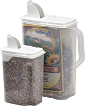 Buddeez 8 Qt and 3.5 Qt Bird Seed Dispenser Set  - Set of 2 Containers with Lids