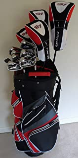 Mens Golf Set Complete Driver, 3 & 5 Fairway Woods, Hybrid, Irons, Putter Sand Wedge & Deluxe Cart Bag Stiff