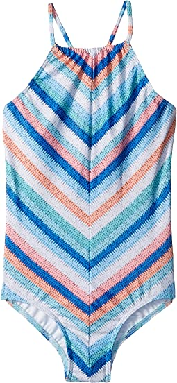 Seafolly Kids - Moonchild Stripe Ruched Neck Tank One-Piece (Little Kids/Big Kids)
