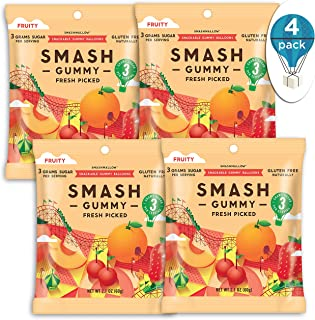 SMASHGUMMY Fresh Picked Fruity Gummies by SMASHMALLOW   Low Sugar  60 Calories  No Sugar Alcohols, Carrageenan, IMO's, Stevia   Non-GMO   Gluten Free   2.1 Ounces per Pack (Pack of 4)