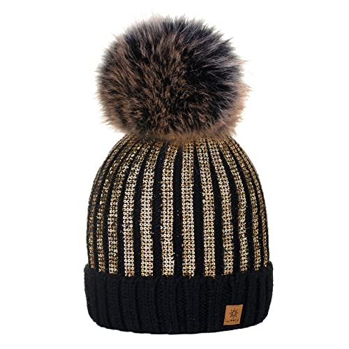 c3c9773a970 4sold Womens Girls Winter Hat Knitted Beanie Large Pom Pom Cap Ski  Snowboard Hats Bobble Gold