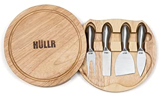 HULLR Premium Stainless Steel Cheese Knives Set Collection In Wood Cheese Board