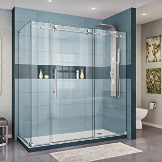 DreamLine Enigma-X 72 3/8 in. W x 34 1/2 in. D Frameless Shower Enclosure in Polished Stainless Steel, SHEN-6134720-08, 68 3/8-72 34.5