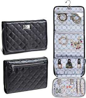 Jewelry Travel Cases for Women, Hanging Jewelry Organizer, Portable Jewelry Roll Pouch for Travelling, Storage for Necklaces, Rings, Earrings + Accessories, Soft Quilted Leather - Large Black