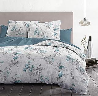 Home Passion 3-Piece Duvet Cover Set - 100% Cotton - 57 Thread Count - Double - 240 x 260 cm - White and Blue Pumpadour