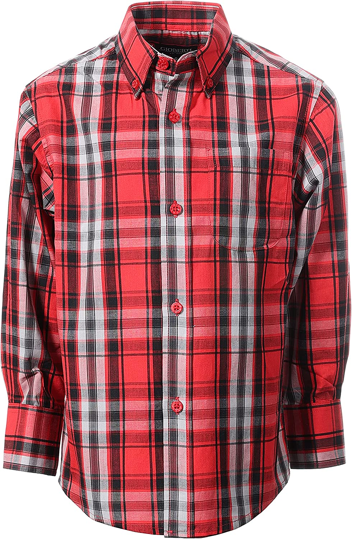 Gioberti Boys Long Sleeve Button Down Plaid Checked Shirt