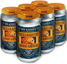 WELLBEING BREWING CO. 12 Pack Cans - Hellraiser Dark Amber Non-Alcoholic Craft Beer - 80 Calories - Zero Grams of Sugar - High in Polyphenols (Anti-Oxidants/Anti-Inflammatories) - 12 Fl. oz.