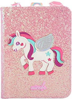 Mirada Pink Glitter Notebook - Unicorn