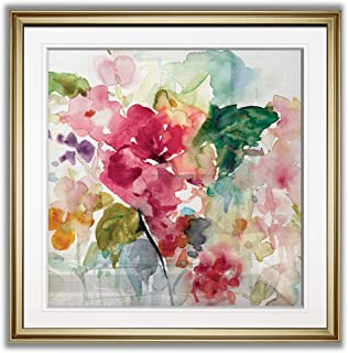 Renditions Gallery PF019-40218-28x28 Citrus Floral Punch Magenta Pink Flower Art Framed Contemporary Artwork Landscape Giclee Prints Home Wall Decor, 28x28, Gold