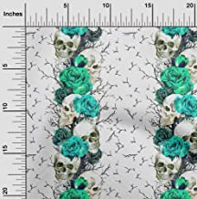 oneOone Cotton Cambric Turquoise Green Fabric Floral & Skull Quilting Supplies Print Sewing Fabric by The Yard 42 Inch Wide