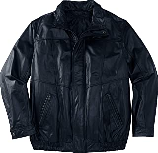 Men's Big & Tall Leather Bomber Jacket