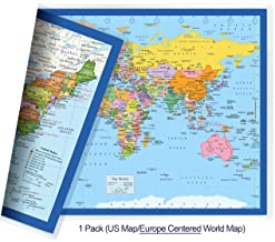 NewSpaceView Classic United States USA and World Desk Map, 2-Sided Print, 2-Sided Sealed Lamination, Small Poster Size 11.5 x 17.5 inches (1 Desk Map (US Map/Europe Centered World Map))