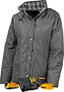 DEWALT DCHJ084CD1-3X Woman's Flannel Lined Diamond Quilted Jacket, 3X, Charcoal