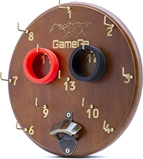 GameGa Hook and Ring Toss Game for Adults & Kinds | with Bottle Opener for Bar, Man Cave, Home, Office, Backyard, Pool Side, Parties, Reunion | Hooky Retro Wood Design, Rubber Rings |Outdoor & Indoor