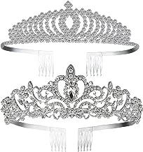Paxuan Silver Gold Wedding Bridal Crystal Rhinestone Earrings Bracelet Jewelry Sets/Tiara Crown Princess Headband Headpiece for Women Girls Birthday Pageant Party Wedding Prom Bridal