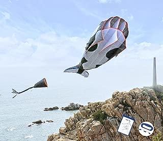Kizh Kite Giant 3D Dolphin Frameless Soft Parafoil Kites for Kids and Adults Easy Flyer Kite for Beach Park Garden Playground (Black)