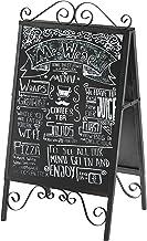 MyGift Scrollwork Design Large A-Frame Black Metal Freestanding Chalkboard Sign/Decorative Restaurant Menu Sidewalk Messag...
