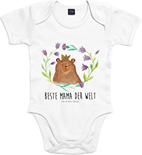 Mr. & Mrs. Panda Mr. & Mrs. Panda Bodysuit, Strampler, 3-6 Monate Baby Body Bär Königin mit Spruch - Farbe Transparent