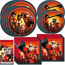 Unique Incredibles 2 Dinnerware Bundle Officially Licensed by Unique | Napkins & Plates, Table Cover | Great for Kids Birthday, Superhero Themed Event, Costume Party