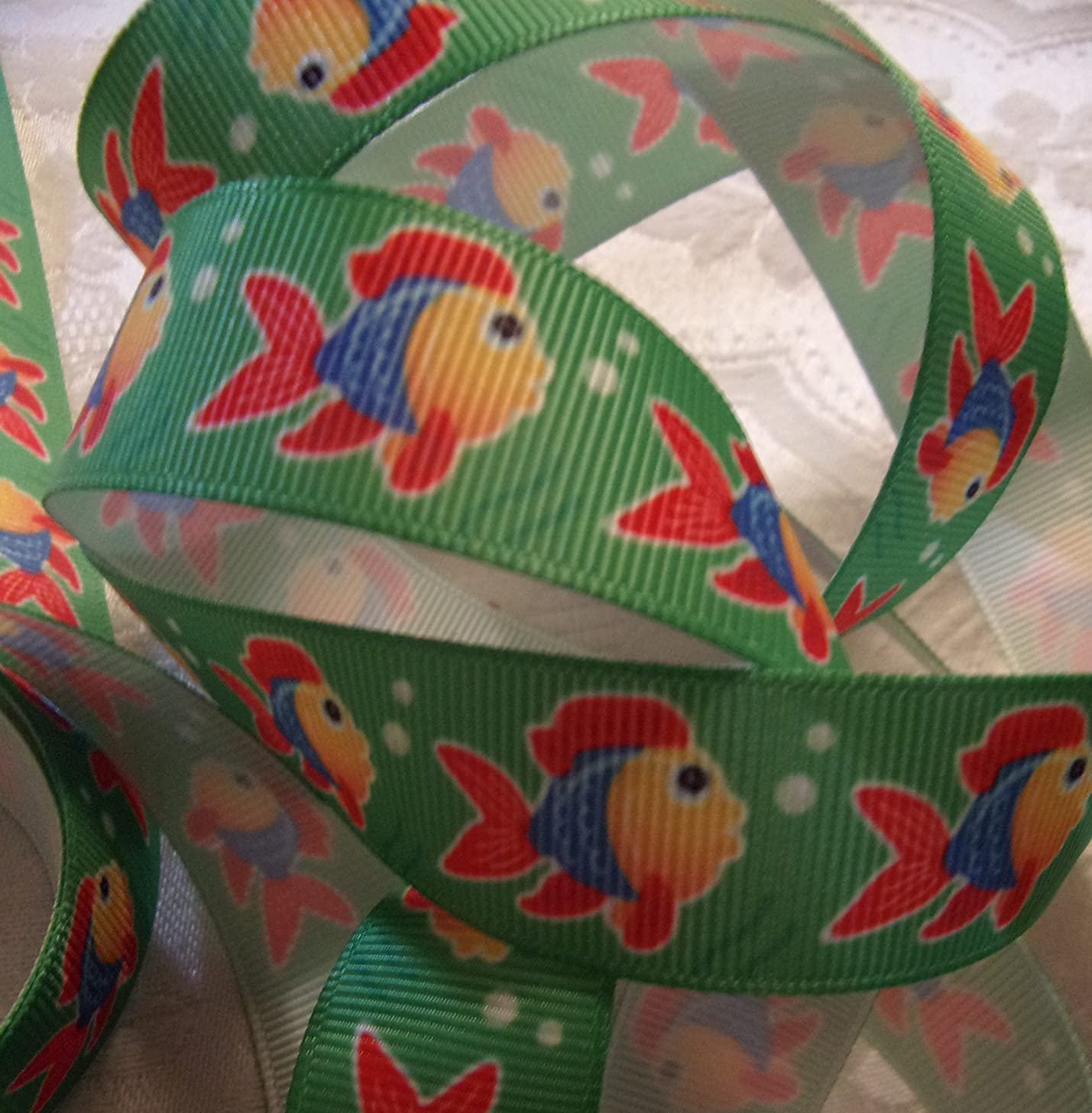 Grosgrain Printed Ribbon --Colorful Fish Print -- 7/8