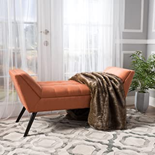 Christopher Knight Home Living Madrid Orange Fabric Bench, 19.50''D x 52.00''W x 23.50''H