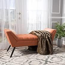 orange ottoman bench