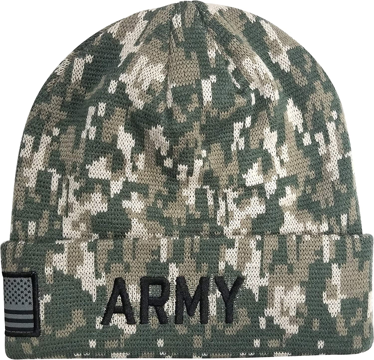 Icon Sports U.S. Military Beanie – Official Embroidered Flag Patch Warm Winter Knit Cap Adult Unisex Hats for Men Women