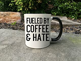 8Jo6Poe Fueled By Coffee Hate Coffee Lover Gift Coffee And Hate Gift For Her Gift For Him Funny Coffee Mug Funny Coffee Gift