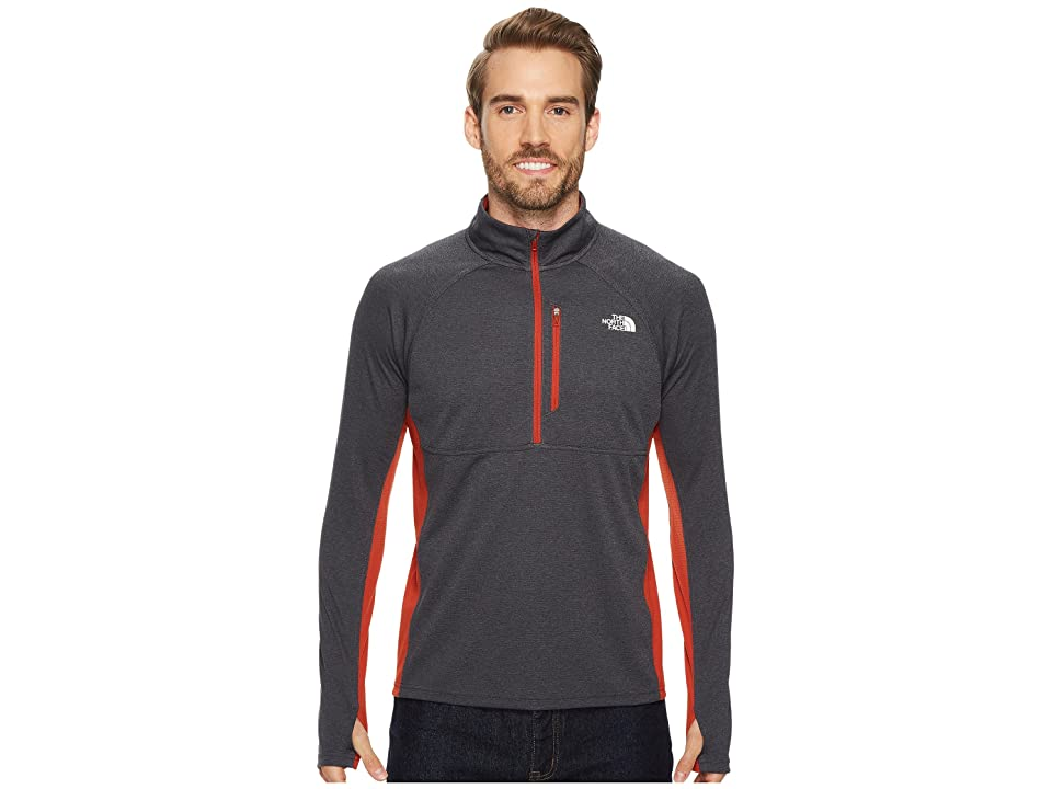 The North Face Impulse Active 1/4 Zip (TNF Dark Grey Heather/Ketchup Red) Men
