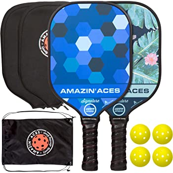 Amazin' Aces Signature Pickleball Paddle Set | USAPA Approved | Graphite Face & Polymer Core | Premium Grip | Includes Paddles, Balls, Paddle Covers, Bag & eBook | 2 Paddle Set (Blue & Green)