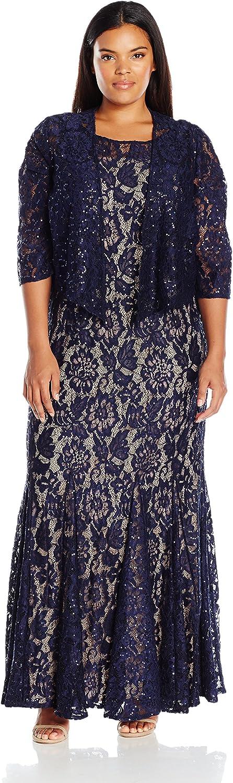 Alex Evenings Womens Plus Size Long Lace Jacket Dress Dress