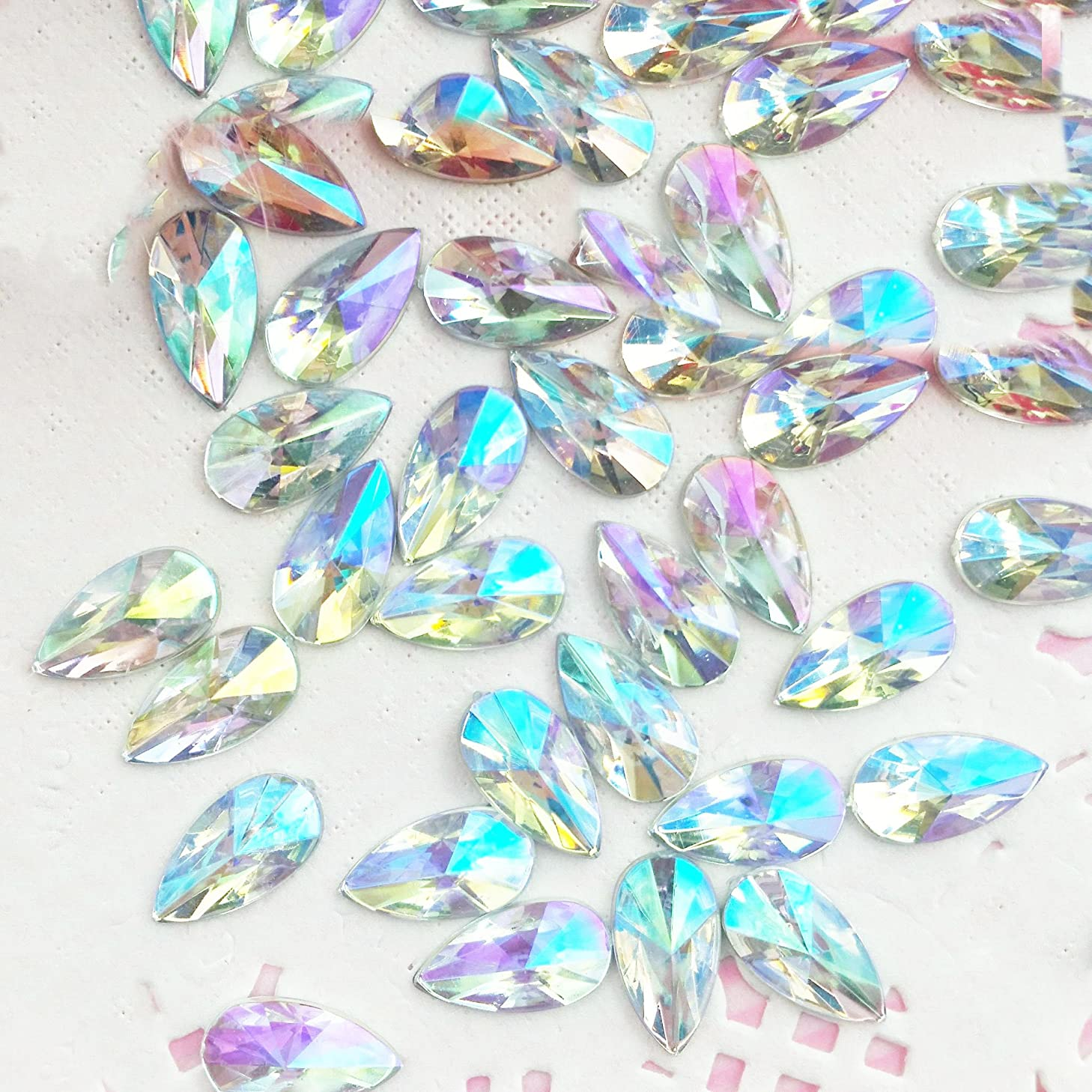 90 pcs 8x13mm Teardrop Light Crystal AB Acrylic Special Effect Rhinestonesship with FREE GIFT from GreatDeal68