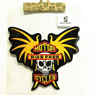 Patch Portal Large Biker Patch Skull 8 Inch Bat Wings Embroidered Chopper Motorcycle MC Club DIY Applique Sew Iron On Men Shirt Jackets Jeans Vest