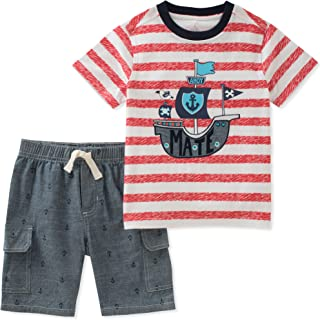 Graphic-Print T-Shirt and Striped Shorts 12 Months Blue Kids Headquarters 2-pc