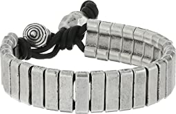 Steve Madden - Stainless Steel Rectangle Bar w/ Ball and Horn Leather Bracelet